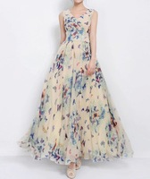 Fashion Maxi Dresses Bohemian Long Dress Chic Style V-Neck Full Butterfly Print Lace Up Sleeveless Chiffon Dress For Women