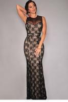 Black Lace Nude Illusion Mesh Accent Gown vestido de festa  Evening Long Dress vestido de festa longo Free Shipping 2015