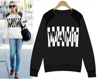 2014 fall and winter Fashion Women's Clothes Women long sleeved round neck letter print sweatshirt loose blouses pullovers