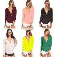 Free shipping Women's Sexy Zipper V-neck Chiffon Tops Long Sleeve Shirt Casual Blouse T-shirts