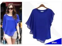 HOT!!! summer Europe Style women's fashion brand new shirt locates falbala short bat sleeve chiffon unlined upper garments Y384