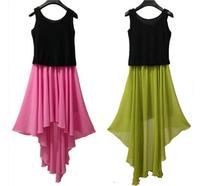 New 2015 women contrast color asymmetrical chiffon dress, plus size M - 4XL patchwork sexy party dress,summer cute evening dress