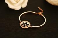 H00038 Fashion Casual Designer 14K Real Gold Plated Nail Screws Crystal Bracelet Bangles Women Men Adjustable Bracelet Chain