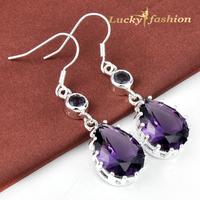 Fashion Shiny Water-drop Amethyst Earrings Silver Wedding Jewelry
