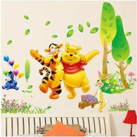 Stickers Wall stickers for kids rooms Diy wall decor Pooh partners Decorative stickers TV setting wall stickers AY876 cartoon
