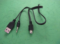 USB 2.0 male to mini B male and 3.5mm Jack Plug Audio/Video Cable