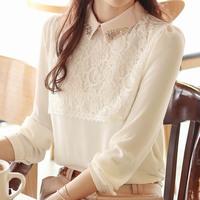 Hot Sell New 2014 Fashion Women Chiffon Blouses Women Lapel Casual Chiffon Lace Long Sleeved Bottoming Shirts Women Tops