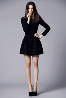2014 New Women Fashion Autumn Winter Full Sleeves Slim Woolen Wave Point a-Line Dress C131