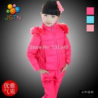 2014 New Children's Winter Clothing Set baby girl Winter Suit Windproof Coat Flower Warm Coats Cotton Jackets+Vest+ Pants