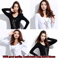 Hot Sale Women Clothing New 2014 Fashion Long Sleeve T Shirt Plaid Bottoming Shirt Women Female Sweater Hoodie Size Loose Blouse