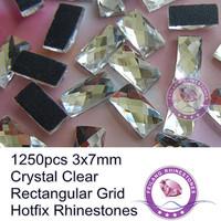 1250pcs Crystal Clear 3x7mm Rectangular Grid Flatback Machine Cut Hotfix Rhinestones For Decoration