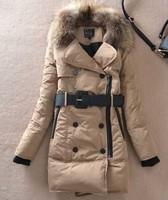 New arrival!women's large fur collar slim fashion medium-long thickening down coat khaki orange black winter parkas outerwear