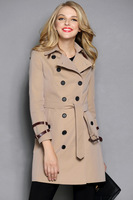 Classic 2013 New Hot Women Fashion Long Coat British Brand / Designer Leather Lace Belted Double Breasted Outerwear #50510