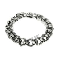 Amur Men Jewelry Link Bracelets Chain Skeleton 316L Stainless Steel Bangle pulseiras