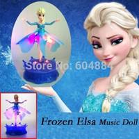 2Pcs New Kids Christmas Gift Frozen Elsa Let it go Music Flying Fairy Electronic Dolls Toys Free Shipping
