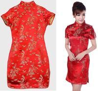 Chinese cheongsam Silk Qipao women summer dress New Year party sexy evening dresses chi-pao