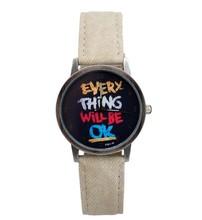 Fashion Wristwatch 2014 New Style Luxury Everything Will Be OK Fabric band Cartoon Watch Men women