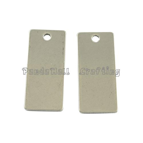 Original Color Rectangle Shaped 201 Stainless Steel Tag Pendants, 21x9x1mm, Hole: 2mm(China (Mainland))