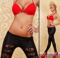 2014 New Fashion Korean version hollow lace hole women leggings Lederhosen Leather Pants tenths pants Free Shipping