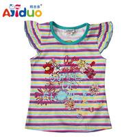 Hot Sell Ajiduo New Fashion Girls T Shirt Stripe Flower Printed Sleeveless Kids Clothes Cotton Summer Children Tops Wholesale