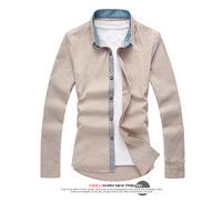 2014 new fashion placket splicing shirt design long sleeve shirt, long sleeved shirt spring man RY15