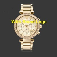 High fashion watch women dress watches with diamond calendar fashion luxury watch gold silver color full steel Free shipping