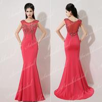 hot sale see through mermaid evening dresses with backless luxurious prom gowns long crystal vestido de festa de casamento longo