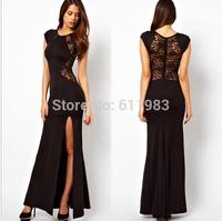 hot sale vestido renda colourful Behind the lace dress slit dress evening dress  vestidos de fiesta frozen dress