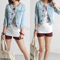 2014 Hot Fashion Women New Jean Denim Jacket Outwear Long Sleeve Short Coat