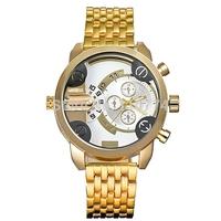Luxury Golden Strap Dual Movement Luminous Hands Sport Men Watch