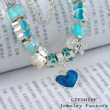LZESHINE Brand Charm Bracelet Personalized European Popular Silver Bead Charm Enamel Love Bracelet Jewelry PA BR0021