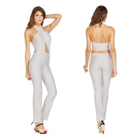 2014 new style halter neck off the shoulder sleeveless hollow out open back cropped celebrity party club women jumpsuit bodysuit