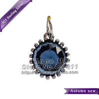 NEW S925 Sterling Silver Midnight Star with Blue Crystal Pendant Charm Bead Fit European Woman Charm Bracelets & Necklaces CB374
