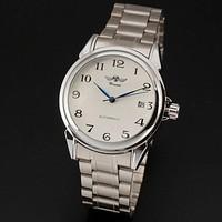2014 New Fashion  Men's Dress Automatic Self-Wind Auto Date Silver Steel Band Analog Wrist Watch Christmas gift