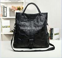 2014 new fall fashion European and American big bag sheepskin leather high-capacity black bag woman handbag shoulder bag 50CM