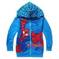 Boy outwear Spider-Man Spring 2014 new cartoon baby long sleeve hooded zipper jacket Kids 2-8age