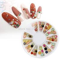 4.5mm Colorful Mixed Alloy Nail Art Rhinestone Pearl Decorations+Wheel New  Free Shipping 60pcs/lot