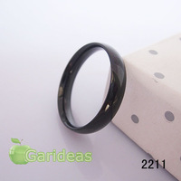 Women Stainless Steel Black Smooth(Polished) Ring Item ID:2211 1 pcs