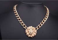 2014 new arrival lion head brand Thick gold color Pendant necklace/lion head gold color necklace
