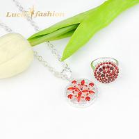 Elegant Fashion Jewelry Sets 925 Silver Flower Shape Cubic Zirconia Ring/Pendant Necklace Set For Women Wedding Dress SET