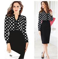 Free shipping  new Women Casual Dress OL Slim Long Sleeve Elegant Party Vintage Polka Dot Print Dresses Work Wear LJ052XGJ
