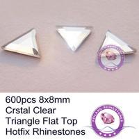 Triangle 8x8mm Flat Top Loose 600pcs Crystal Clear Machine Cut Hot Fix Rhinestones