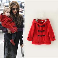 New Fashion Baby Girls Coat Jacket Hoodie/hoody Female Children Outwear Coat Winter Red Color Long Sleeve