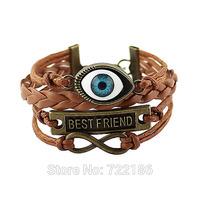 PU Leather Bracelet  Big Eyes Shape Letter Decoration Bracelets and Bangles Sets For Women Pulseira Feminina