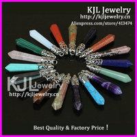 40pcs Wholesale Mixed Colors Natural Long Point Pendulum Pendant,Silver Cap Hexagon Healing Crystal Quartz Pendulum pendants