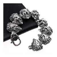 Amur Men Jewelry Link Novelty Bracelets Lion Chain 316L Stainless Steel Punk Bangle pulseiras