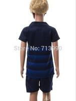 2014/2015 new City Away Kids Boys Jerseys customize #16 #21 14-15 Man away blue jersey kits for children kids size 16-28