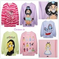 Fashion Women's Cartoon Print Sweatshirts Autumn Pink Pullovers Purple White Sweatshirt 5 Styles MD1986/20/87/92/93