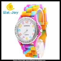 100/lot hot sale geneve rainbow silicone watch (WJ-2739)