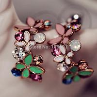 Cute Women Elegant Ear Stud Crystal Rhinestone Butterfly Earrings Free Shipping 1pair/lot